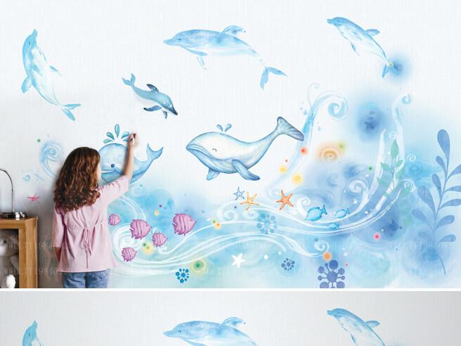 Фотообои Дельфины и киты на волнах
