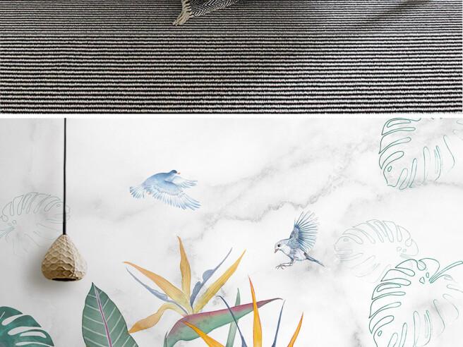Фотообои Птицы над распустившемся цветком
