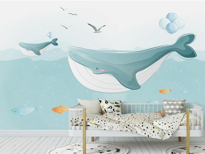 Фотообои Два кита и чайки