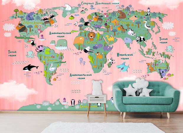 Карта со зверями в розовых цветах