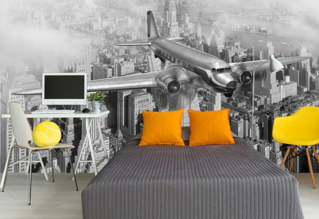 Самолет в черно-белом