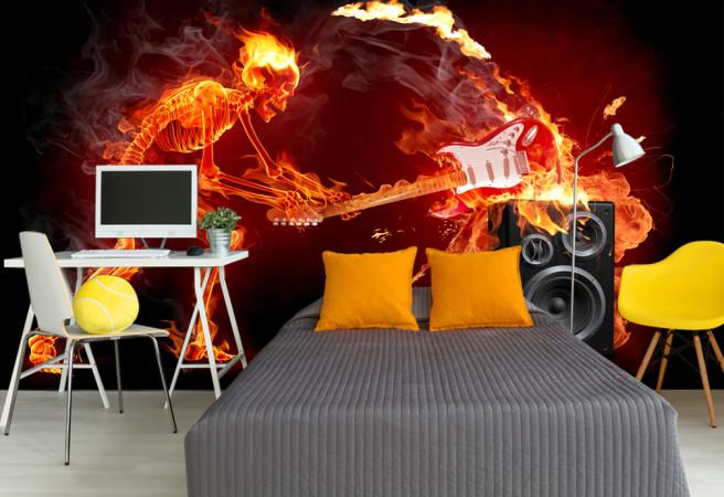 Фотообои горящая гитара