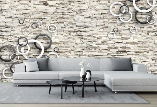 Фотообои круги на стене