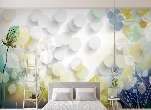 Белые круги с цветами