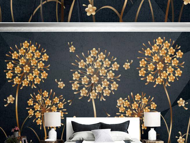 Фотообои Редкие золотые цветы