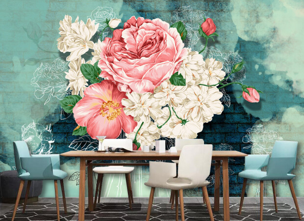 Букет цветов на синем фоне