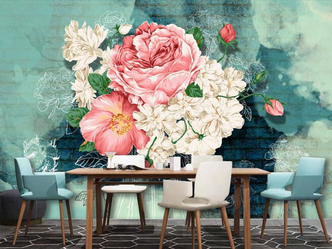Фотообои Букет цветов на синем фоне