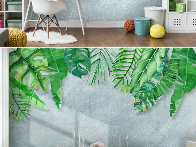Фотообои Листья пальм на серой стене