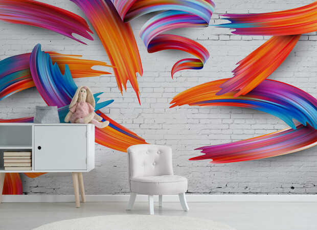 Краски на серой кирпичной стене