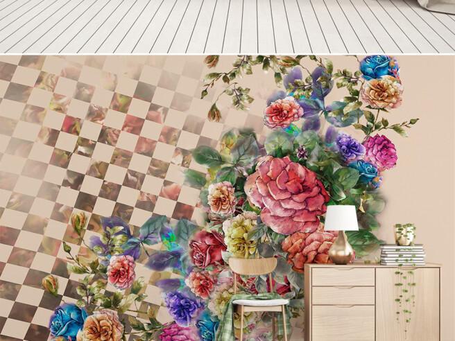 Фотообои Цветы на шахматной доске