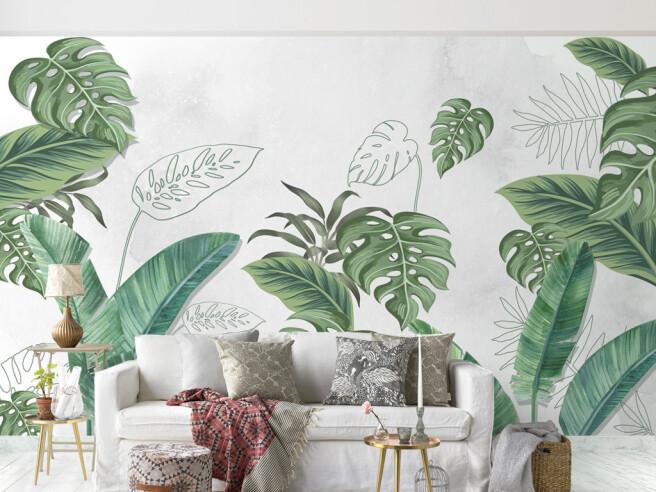 Фотообои Листья монстеры и пальмы