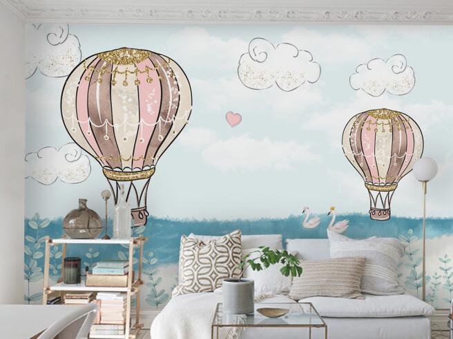 Фотообои Нарисованные воздушные шары