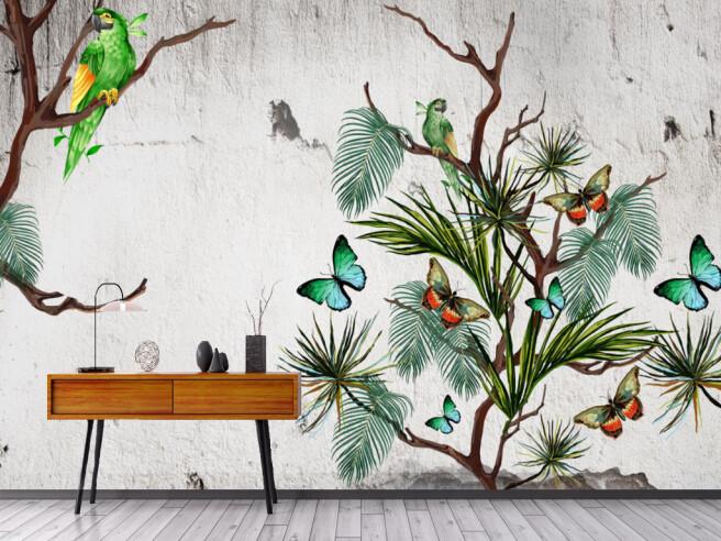 Фотообои Бабочки на кусте