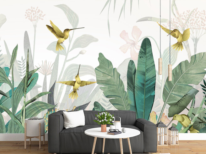 Фотообои Четыре колибри над листьями пальм