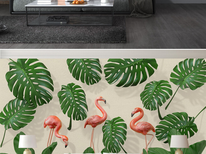 Фотообои Фламинго и листья монстеры