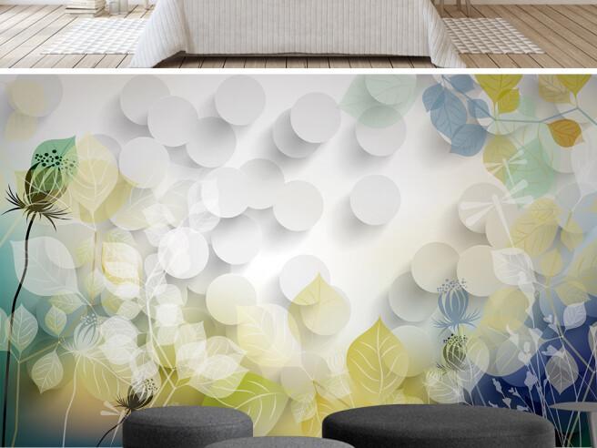 Фотообои Белые круги с цветами