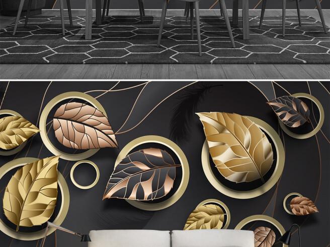 Фотообои Листья в золотых кругах