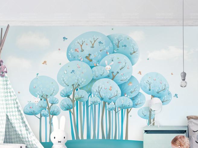 Голубые деревья и зайчишка