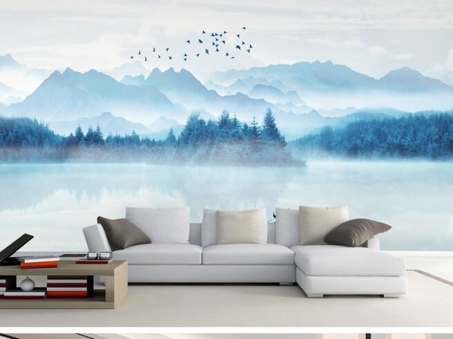 Стая птиц над голубым лесом