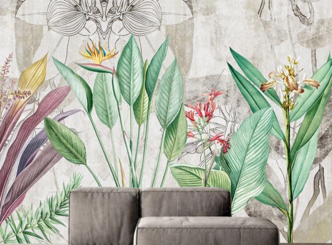 Фотообои черно белый цветок в тропиках