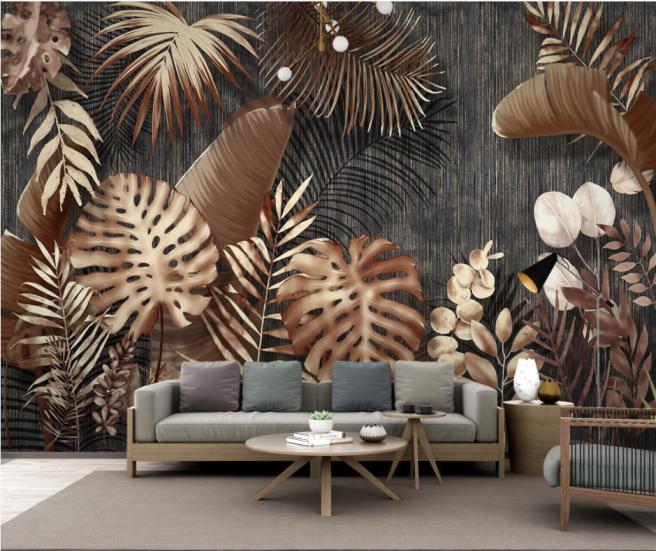 Фотообои коричневые тропики с фоном