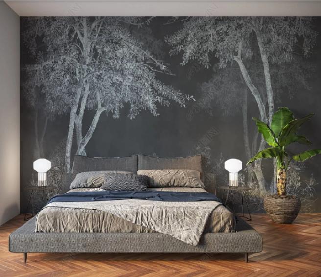 Фотообои деревья на темном фоне