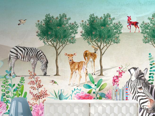 Фотообои Олени и зебры возле дерева