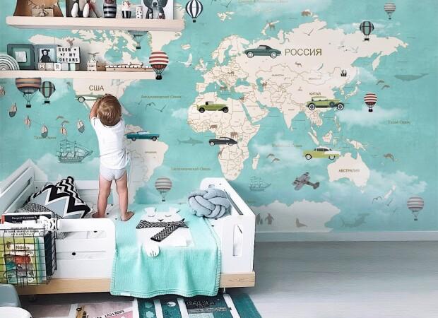 Голубая карта с автомобилями