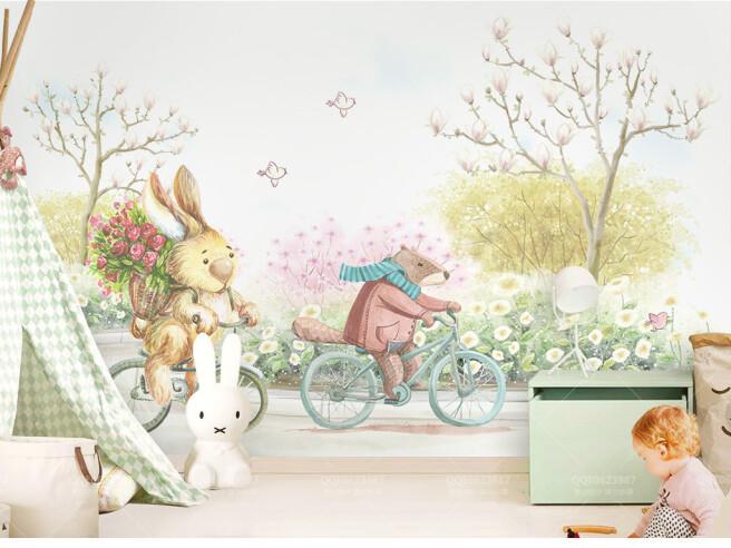 Фотообои Бобер и заяц мчатся на велосипедах