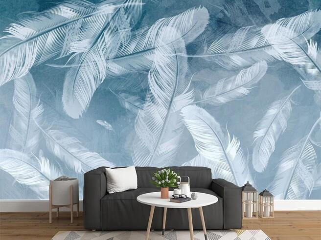 Фотообои Парящие перья на голубом фоне