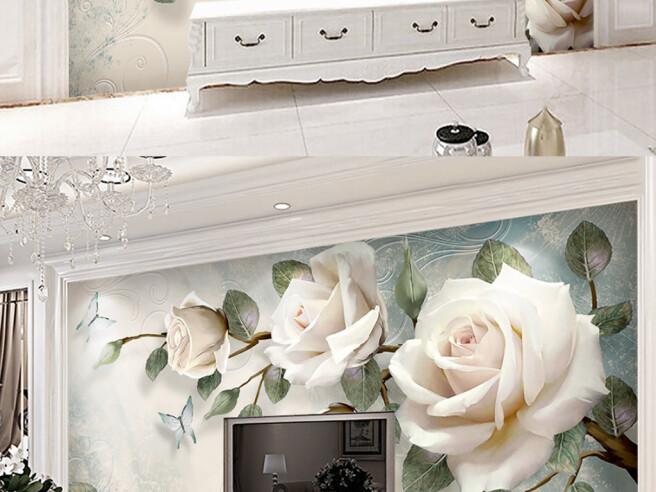Фотообои Три белые розы на ветке