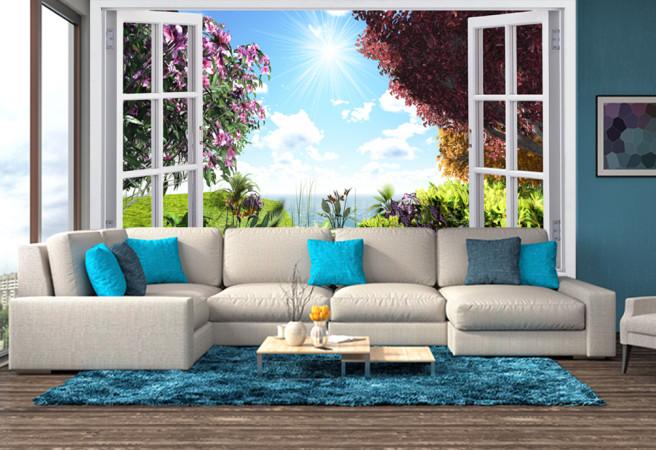 Фотообои Цветущие кусты за окном