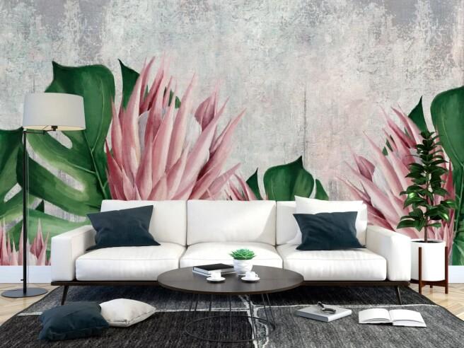Фотообои тропический «цветок» на бетонном фоне