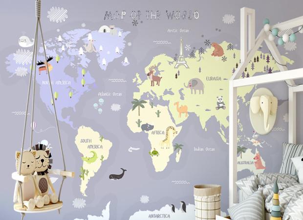 Заснеженная карта мира