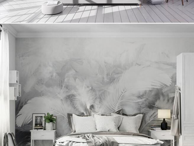 Серые перья на стене
