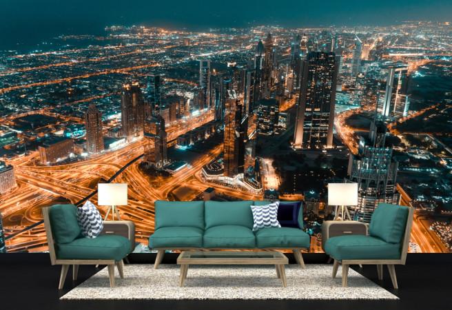 Фотообои сине-зеленый город