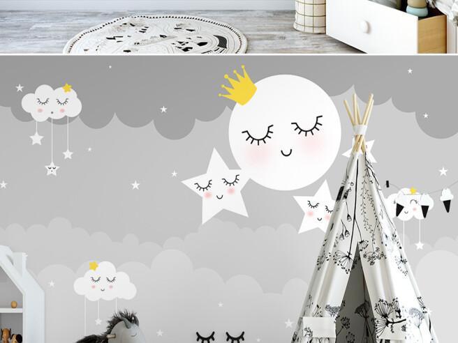 Фотообои Спящая луна и звезды