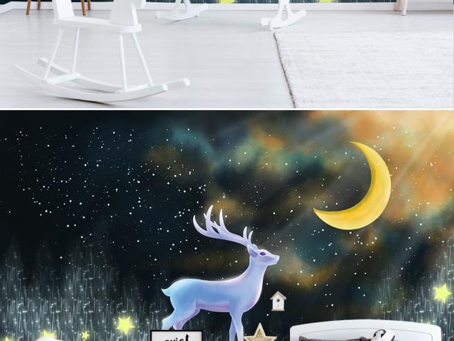 Фотообои Северное сияние и олень
