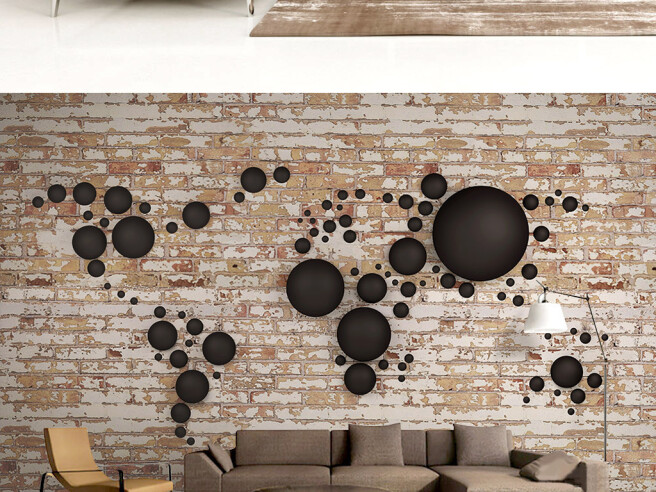 Коричневые круги на кирпичной стене