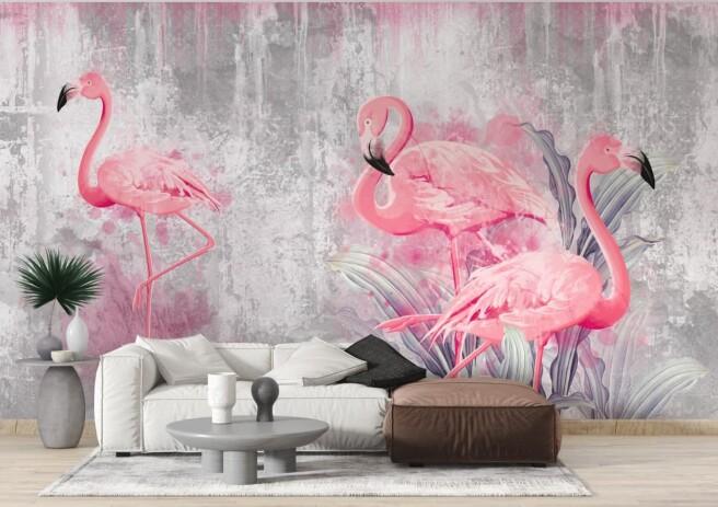 Фотообои дизайнерские фламинго