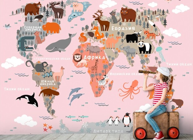 Розовая карта с мультяшными животными