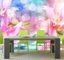 Фотообои розовые лилии на голубом