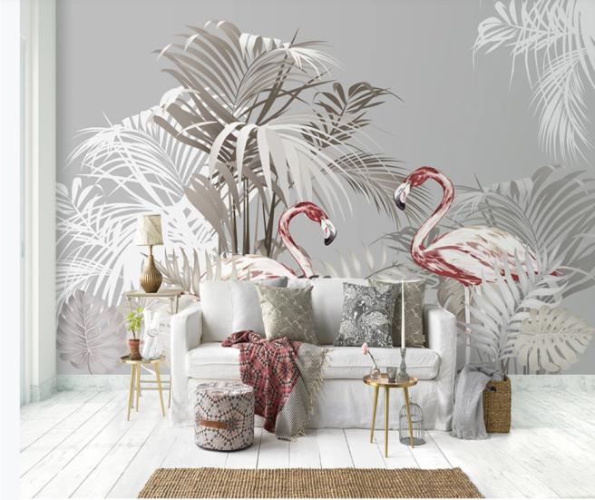 Фотообои тропики и красные фламинго