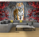 тигр в красных листьях
