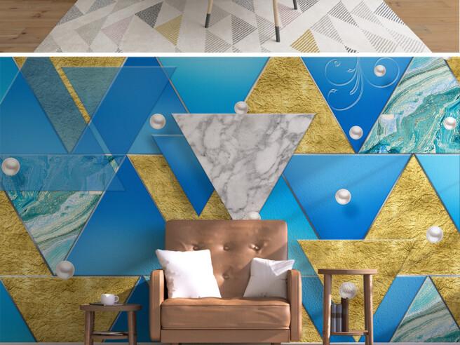 Фотообои Объемные сине-золотые треугольники