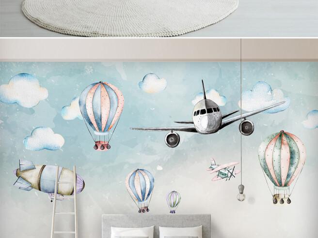 Фотообои Боинг и воздушные шары