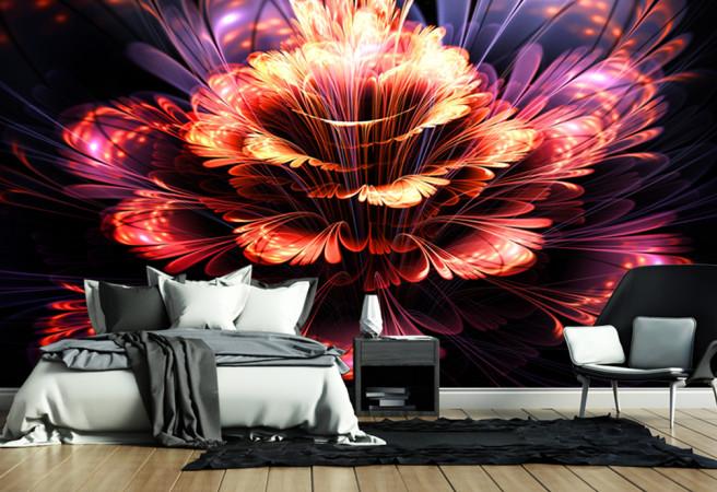 Фотообои огненный цветок в 3д