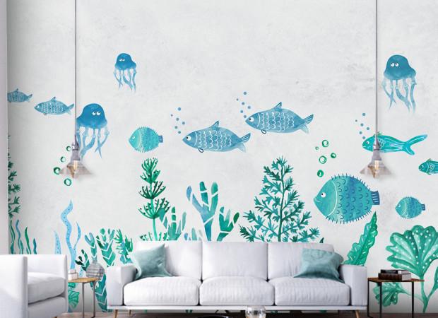 Берюзовые рыбки и медузы