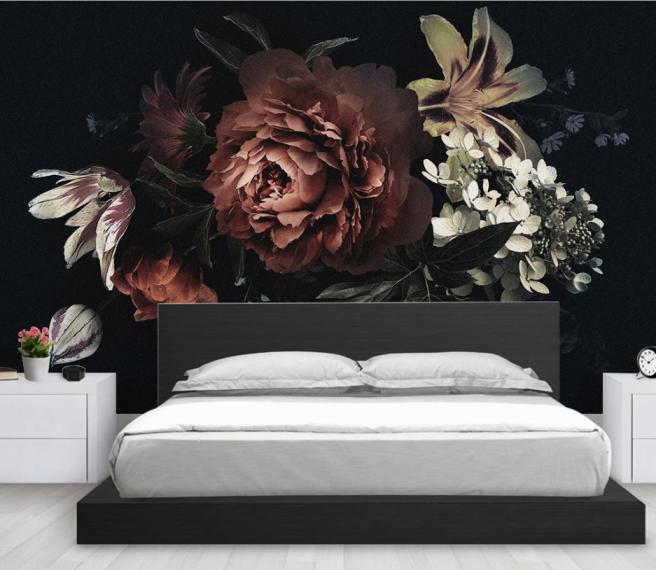 Фотообои цветы на темном фоне