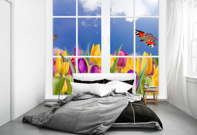 Фотообои Окно в тюльпаны